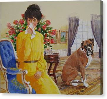Canvas Print featuring the painting Flatulent Boxer by Cliff Spohn