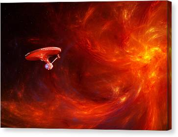 Fleeing The Fire Storm Canvas Print