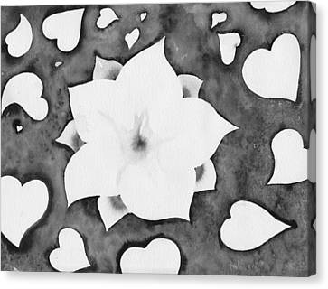 Canvas Print featuring the painting Fleur Et Coeurs Monochrome by Marc Philippe Joly