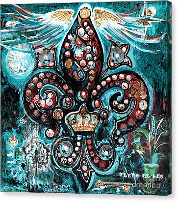 Canvas Print featuring the painting Fleur De Lis Steampunk Style by Genevieve Esson