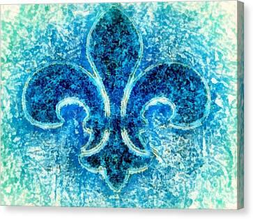 Dust Canvas Print - Fleur De Lis Turquoise - Par Le Mer by Janine Riley