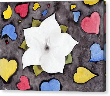 Canvas Print featuring the painting Fleur Et Coeurs by Marc Philippe Joly