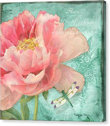 Fleura - Peony Garden Canvas Print by Audrey Jeanne Roberts