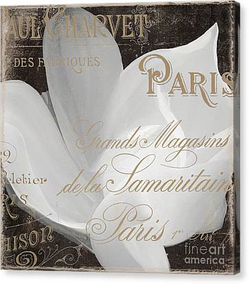 Word Art Canvas Print - Fleurs Blanc Magnolia by Mindy Sommers