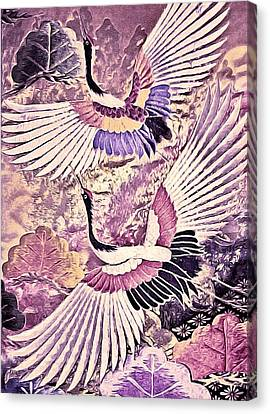 Flight Of Lovers - Kimono Series Canvas Print by Susan Maxwell Schmidt
