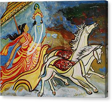 Canvas Print featuring the painting Flight Of Rukmini With Krishna by Anand Swaroop Manchiraju