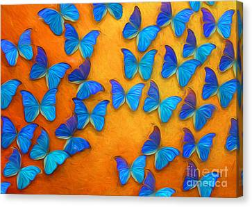 Flight Of The Blue Butterflies Canvas Print by Barbara McMahon