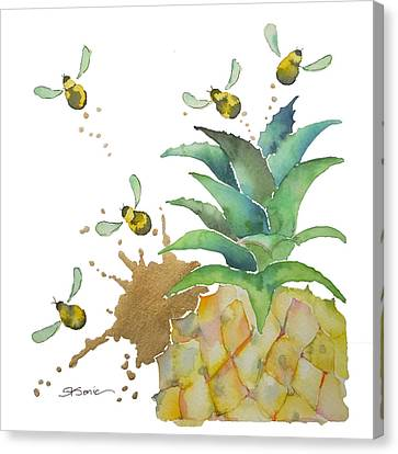 Bees Canvas Print - Flight Of The Bumblebee No19 by Roleen Senic