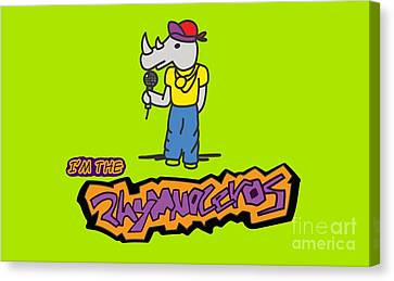 Flight Of The Conchords The Hiphopopotamus And The Rhymenoceros The Rhymenoceros Version 1 Canvas Print by Paul Telling