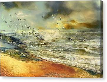 Sea Birds Canvas Print - Flight Of The Seagulls by Anne Weirich