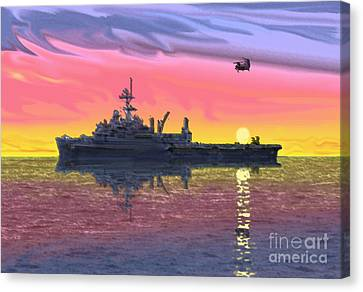 Flight Ops At Sunset Canvas Print by Donald Maier