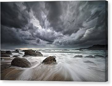 Flight Over Troubled Waters Canvas Print by Santiago Pascual Buye