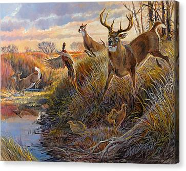 Canvas Print featuring the painting Flight by Steve Spencer