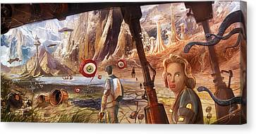Flight To Venus Original Painting Canvas Print by Luis Peres