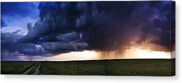 Flint Hills Storm Panorama  Canvas Print