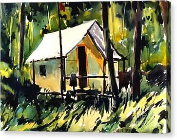 Flint Ridge Campsite Plein Air Framed And Glazed Canvas Print