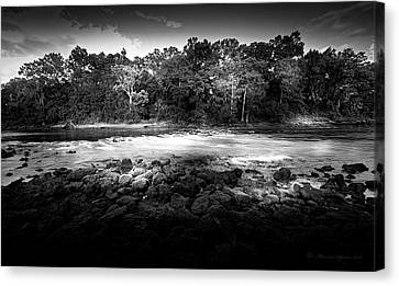 Flint River Rapids B/w Canvas Print by Marvin Spates