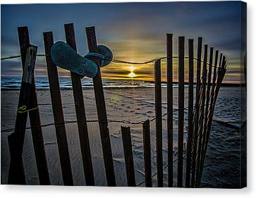Flip Flops On A Beach At Sun Rise Canvas Print by Sven Brogren