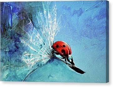 Flirt - Ladybug On Dandelion Seed Painting By Soos Roxana Gabriela Art Print Canvas Print