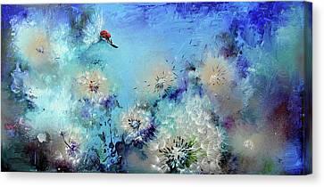 Flirt - Ladybug On Dandelion Canvas Print by Soos Roxana Gabriela