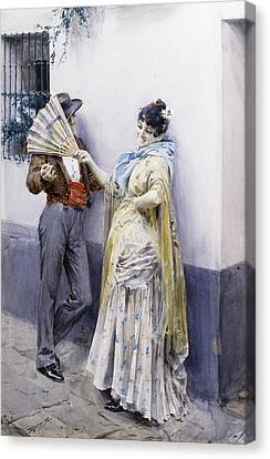 Flirtation Canvas Print by Anders Leonard Zorn