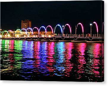 Canvas Print featuring the photograph Floating Bridge, Willemstad, Curacao by Kurt Van Wagner