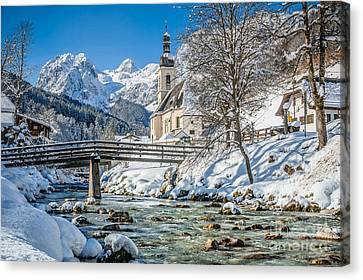 Floating Down The Winter Wonderland River Canvas Print by JR Photography