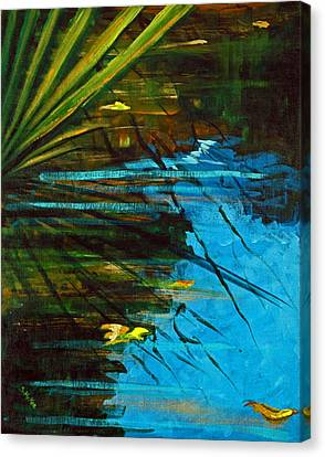 Floating Gold On Reflected Blue Canvas Print by Suzanne McKee