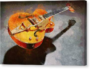Floating Guitar Canvas Print by Russ Harris
