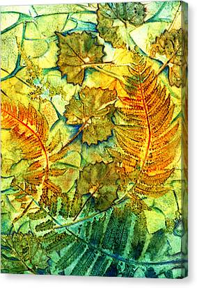 Floating Leaves And Fern Fronds Canvas Print