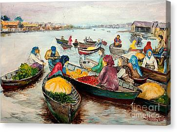 Canvas Print featuring the painting Floating Market by Jason Sentuf