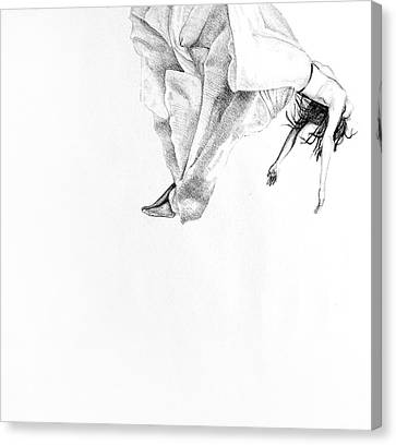 Floating On Clouds, 2015, 50-50cm, Graphite Crayon On Paper Canvas Print by Oana Unciuleanu