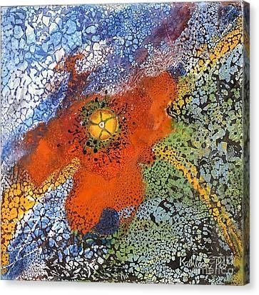 Floating Poppy Canvas Print by Kathleen Pio