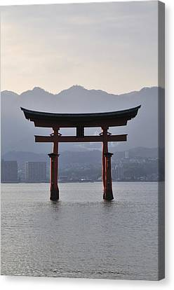 Torii Canvas Print - Floating Torii At Itsukushima Shrine Miyajima Japan by Andy Smy