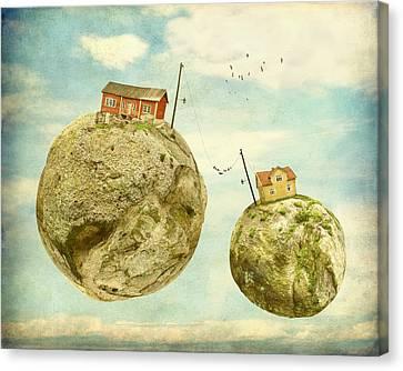 Floating Village Canvas Print by Sonya Kanelstrand