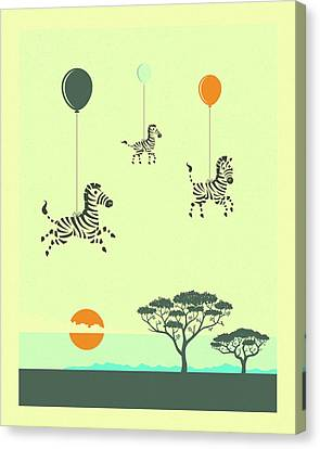Flock Of Zebras Canvas Print by Jazzberry Blue
