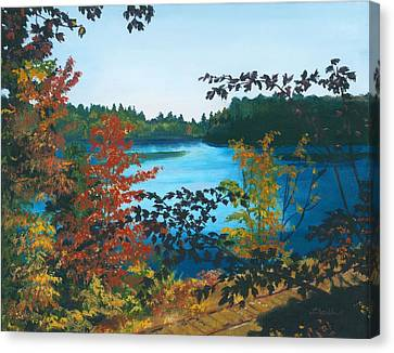Canvas Print featuring the painting Floodwood by Lynne Reichhart