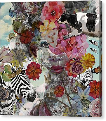Canvas Print featuring the digital art Flora And Fauna by Nola Lee Kelsey