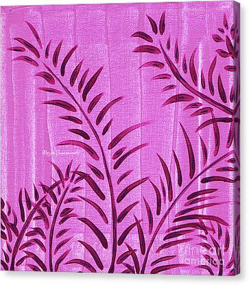 Flora Fauna Tropical Abstract Leaves Painting Magenta Splash By Megan Duncanson Canvas Print by Megan Duncanson