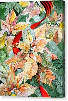 Peaches Canvas Print - A Peachy Poinsettia by Mindy Newman