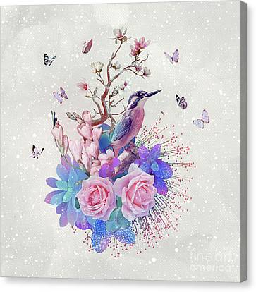 Floral Alcedo Atthis Canvas Print