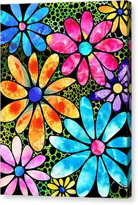 Floral Art - Big Flower Love - Sharon Cummings Canvas Print