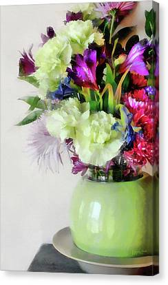 Floral Bouquet In Green Canvas Print