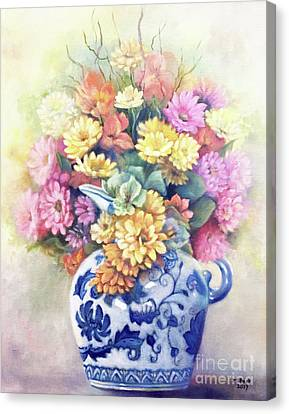 Canvas Print featuring the painting Floral Fusion by Marlene Book