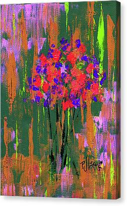 Canvas Print featuring the painting Floral Impresions by P J Lewis