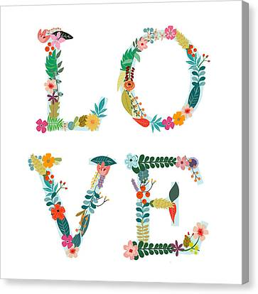Floral Love Letters Canvas Print by Amanda Lakey