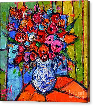 Floral Miniature - Abstract 0715 - Colorful Bouquet Canvas Print by Mona Edulesco