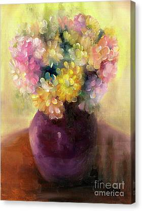 Canvas Print featuring the painting Floral Oil Sketch by Marlene Book