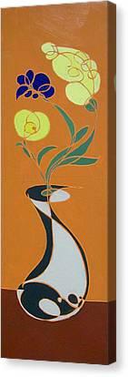 Floral On Orange Canvas Print