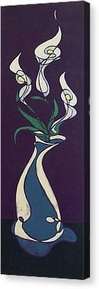 Floral On Violet Canvas Print